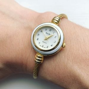 Vintage dainty ivory & gold cable watch